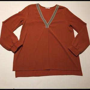 Lush Rust V-neck Medium Tunic Shirt Long Sleeve